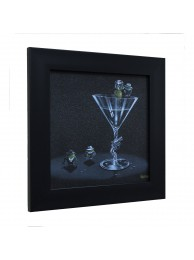 Gangster Martini by Michael Godard, Framed 14.25x 14.25