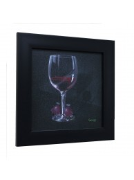 (He Devil    She Devil  Red Wine) by Michael Godard, Framed 14.25 x 14.25