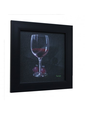 "(He Devil She Devil Red Wine) - Michael Godard, Framed 14.25"" x 14.25"""